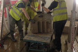 Removing concrete blocks floor sawing