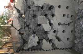 Diamond drilling holes for concrete bursting