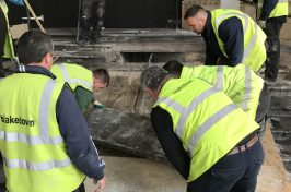 Our workers inspecting the steps